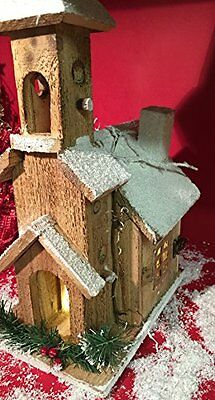 Light Up LED Hand Crafted Wooden Christmas Winters Scene Church