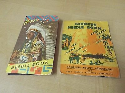 2 VINTAGE NEEDLE BOOKS AKRA INDIAN CHIEF & Farmers