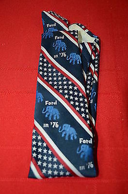 1976 President Gerald Ford Campaign Republican Elephant Necktie Red-Wh-Blu 1388