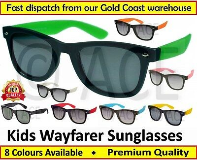 Kids Childrens Boys Girls WAYFARER SUNGLASSES Black Frame Coloured Arms Sunnies