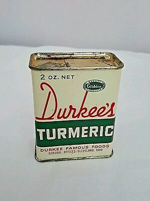 Vintage Advertising Durkee's Spice Tin Turmeric Content Inside