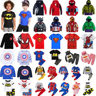 Super Hero Kids Boys Clothes Spiderman Hoodies Tops Pants Sleepwear Outfits Set