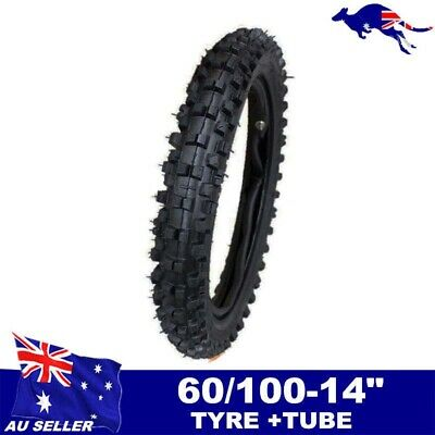 "60/100-14"" Inch Dirt Pit Pro Trail Bike Tire 2.75-14"" Knobby Front Tyre Tube Crf"