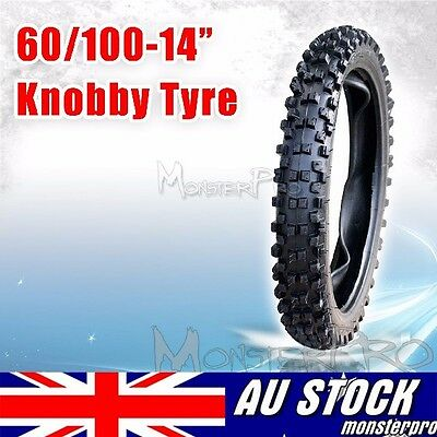 """Knobby Front Tyre 60/100-14"""" Inch Dirt Pit Trail Bike Tire + Tube Crf Motorbikes"""
