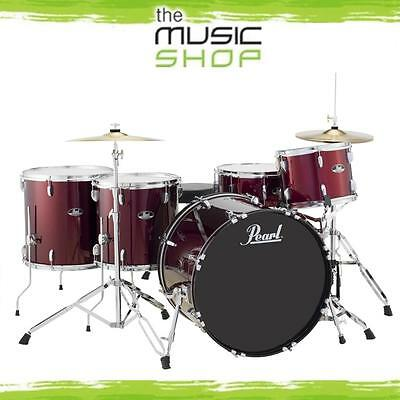 Pearl Roadshow 5 Piece Rock Plus Drum Kit with Cymbals & Hardware - Wine Red