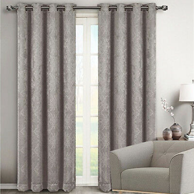 Quickfit Blockout Eyelet Soft Drape Damask Thermal Curtain Panel 4 Sizes Silver