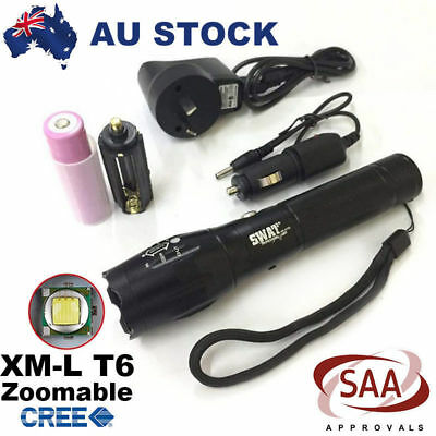 12000Lm Zoomable XM-L T6 LED Flashlight Rechargeable Torch+18650 Battery+Charger