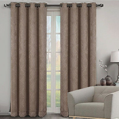 Quickfit Blockout Eyelet Soft Drape Damask Thermal Curtain Panel 4 Sizes Beige