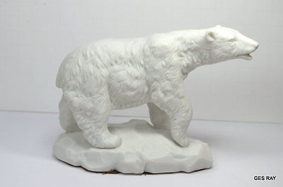 Vintage ALDON ACCESSORIES LTD PORCELAIN BISQUE POLAR BEAR ON POLAR ICE