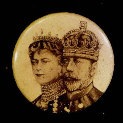 Vintage King George V Queen Mary 1911 Coronation Royalty Badge Pinback Button
