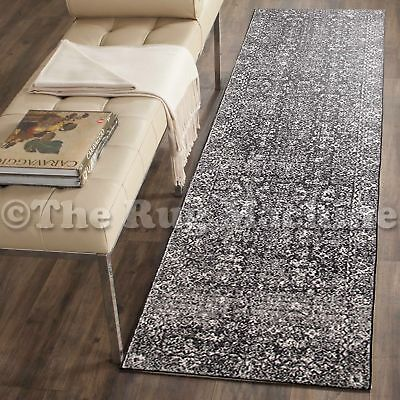 FORTUNA CHARCOAL BLACK ALLOVER ANTIQUE STYLE TRADITIONAL RUG RUNNER 80x500cm **N