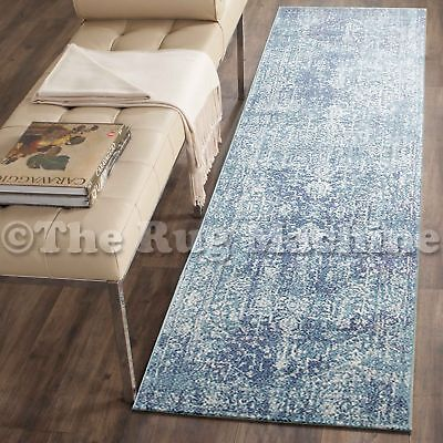 FORTUNA BLUE IVORY MEDALLION ANTIQUE STYLE TRADITIONAL RUG RUNNER 80x300cm **NEW