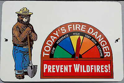 Smokey Bear Fire Danger Sign W/gauge! U.s. Forest Service Classic Poster Image!