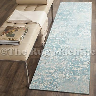 FORTUNA LIGHT BLUE FLORAL ANTIQUE STYLE TRADITIONAL RUG RUNNER 80x300cm *NEW**