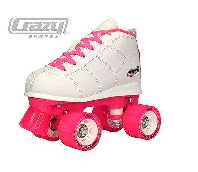 BEST GIFT IDEA EVER!  Girls Pink and White Roller Skates by Crazy Skates Company