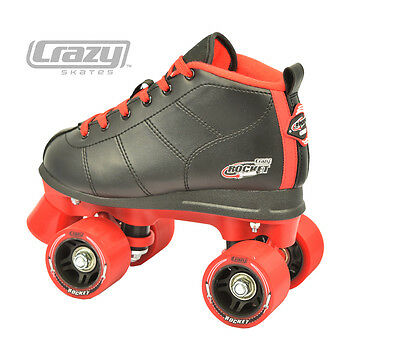 Crazy ROCKETS - Best Aussie Roller Skates, Black/Red - AUSSIE TOUGH!
