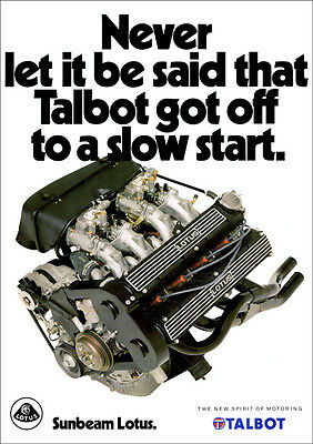 Sunbeam Lotus Talbot Twin Cam Retro A3 Poster Print From Classic 80's Advert