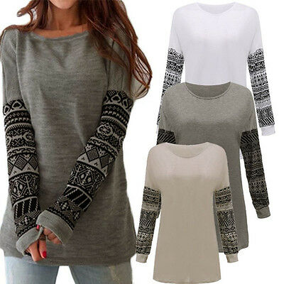 Plus Size UK 8-26 Womens Loose Casual Long Sleeve T Shirt Jumper Tops Blouse Tee