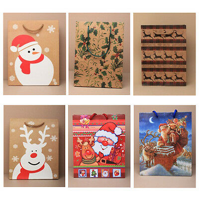 6 Large Christmas Gift Bags - 1 of each design - Pack of Xmas Gift Bags