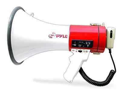 Pyle PMP57LIA Megaphone Bullhorn, Built-in Rechargeable Battery, USB Flash/SD Me