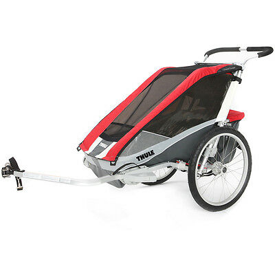 Thule Chariot Cougar 2 child carrier UK certified - red Inc Cycle Kit