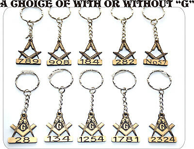 10  x MASONIC PERSONALISED KEY RINGS  WITH YOUR OWN LODGE NUMBER  SPECIAL OFFER.