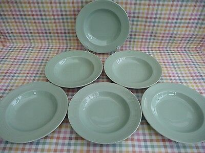SET OF 6 VINTAGE WOODS WARE 'BERYL' RIMMED SOUP BOWLS 23cm - FAB CONDITION