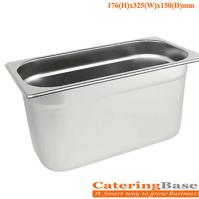Stainless Steel 1/3 Gastronorm Pan 5.7Ltr/150mm Deep Food Bain Marie Container
