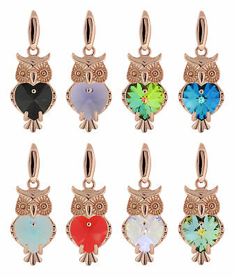 Sterling Silver Rose Gold Plated Owl Pendant made with 6228 Swarovski® Crystals