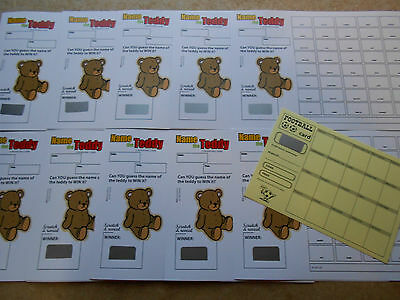 Name The Teddy Scratch Card ( 40 Spaces) Easy Way To Raise Funds = Set Of 10
