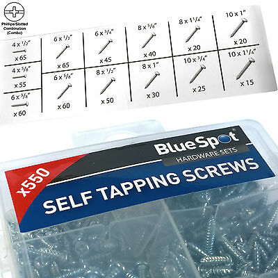 Philips/Slotted Combo Screws. 550 Assorted Self Tapping Screws multi sizes