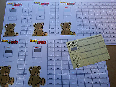 NAME THE TEDDY SCRATCH CARDS EASY WAY TO RAISE £200 B/&W 40 SPACES X 10