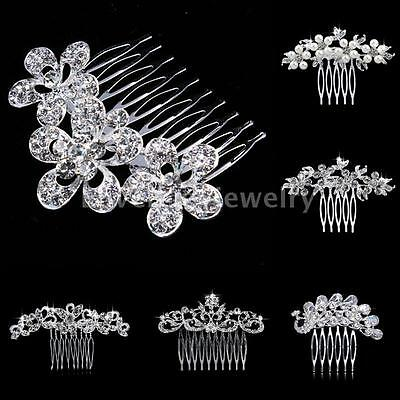 Peacock Floral Style Silver Diamante Crystal Bridal Hair Comb Wedding Jewelry