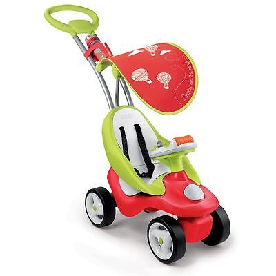 Smoby Bubble Go Red Unisex 2-In-1 Girls & Boys Ride-On Toy Activity Stroller