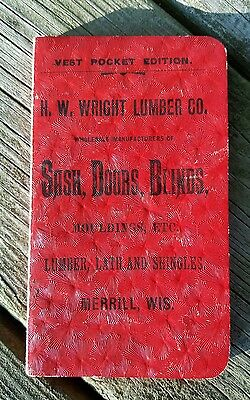 1894 Salesman Pricing Lumber Co Henry W Wright Merrill Wisconsin