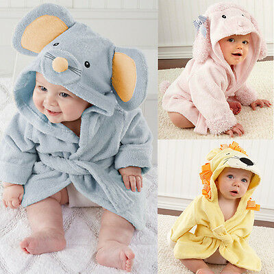 Cute Animal Cartoon Baby Kid's Hooded Bathrobe Toddler Boy Girls Bath Towel 0-2T