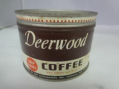 Vintage Deerwood Brand Coffee Tin Advertising Collectible Graphics  M-341