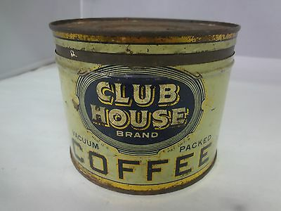 Vintage Club House  Brand Coffee Tin Advertising Collectible Graphics  M-348