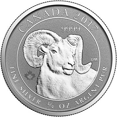 2017 Canadian $2 CAD Big Horn Sheep 3/4 oz .9999 Silver Reverse Proof RCM Coin
