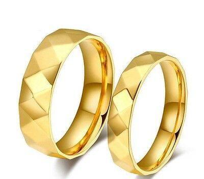 b8c4a4538d USA 2pcs 18k Gold Plated Faceted Style Couple Ring Set Promise Wedding Rings