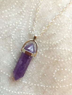 Amethyst Pointer Necklace Silver Reiki Gothic Mystic Crystal Wicca Magic Pendant
