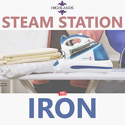 HIGHLANDS 2600W Steam Generator Iron with Station 20G/Minute Steam Output