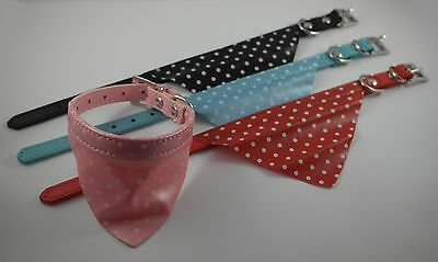 Adjustable Wipe Clean Pet Puppy Dog Cat Bandana Neck Scarf with Collar. Polkadot