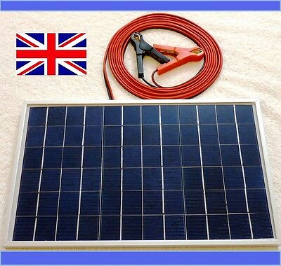 10w Solar Panel 12v Battery Charger top up c/w 4m cable & Block Diode & Clips CE