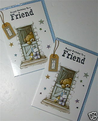 FRIEND BIRTHDAY CARDS X 12, JUST 25p, EMBOSSED, FOILED, WRAPPED (B44