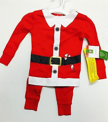 18 Month 2 Piece Unisex Holiday Christmas Santa  Cotton Outfit