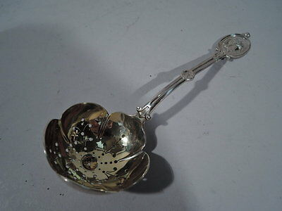 JE Caldwell Medallion Spoon - Antique Pierced Slotted - American Sterling Silver