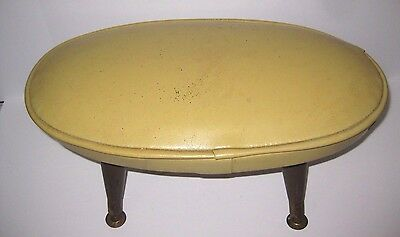 Mid-Century Modern Mustard Yellow Foot Stool With Tapered Wooden Legs