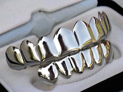 Platinum Plated 8 Tooth Grillz Top & Smaller Bottom Set Bling Jaws Teeth Grills