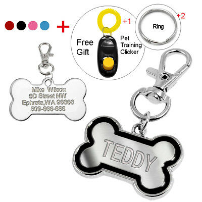 Bone Shape Custom Dog Tags Personalized Engraved Cat Pet ID Tag Free Clicker S L